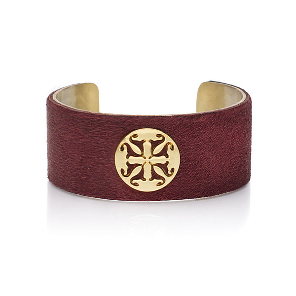 "Calfskin Dark Red 1.0"" Gold with Gold Logo"