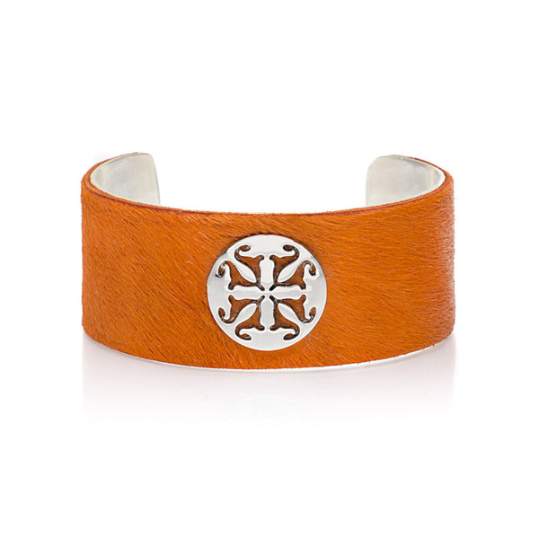 "Calfskin Orange 1.0"" Silver with Silver Logo"