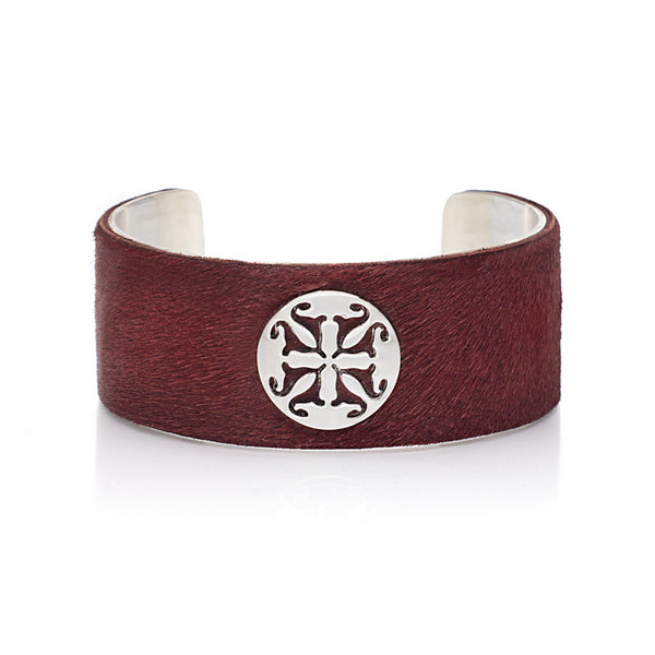 "Calfskin Dark Red 1.0"" Silver with Silver Logo"