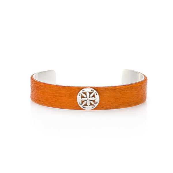 "Calfskin Orange .5"" Silver with Silver Logo"