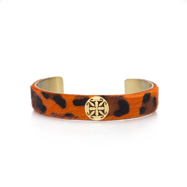 "Calfskin Orange Leopard .5"" Gold with Gold Logo"