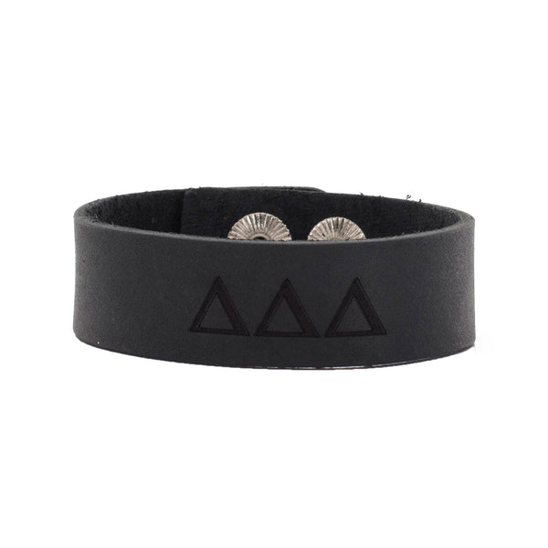 Leather Snap Cuff .75 - Delta Delta Delta Greek Letters