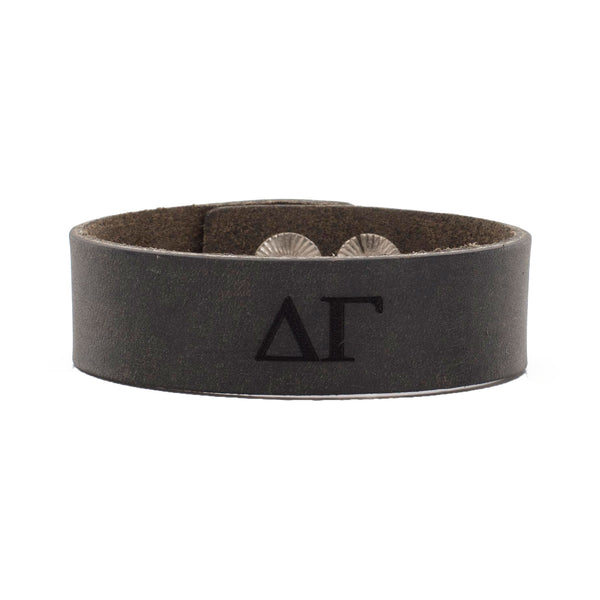 Leather Snap Cuff .75 - Delta Gamma Greek Letters