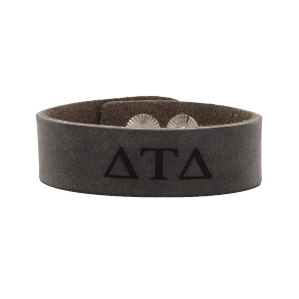 Leather Snap Cuff .75 - Delta Tau Delta Greek Letters