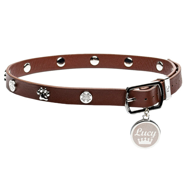 Dog Collar Brown with Silver