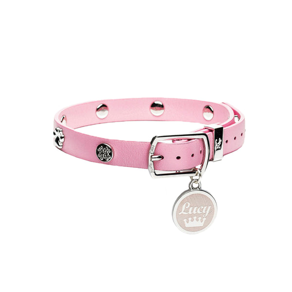 Dog Collar Light Pink with Silver