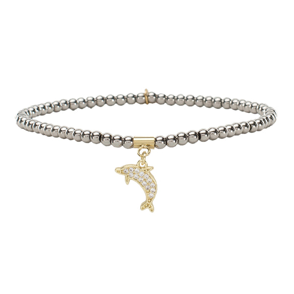 Ireland Micro Pavé Dolphin - Silver with Gold Charm (Backordered 3-5 weeks)