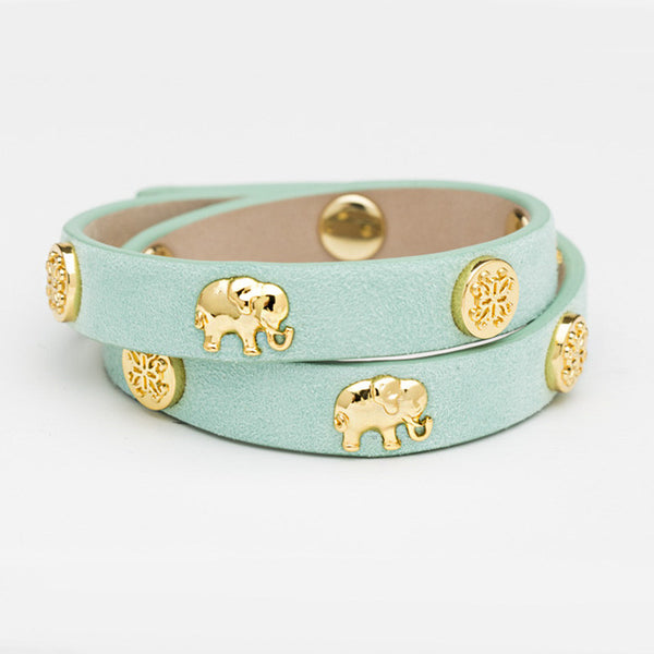 Meagen Double Wrap With Animals - Mint Elephants