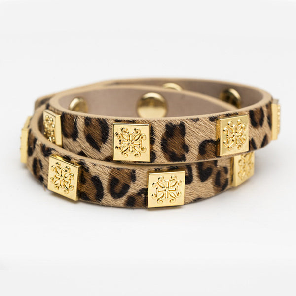 Meagen Calfskin Leopard Double Wrap with Gold