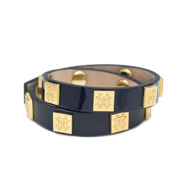 Meagen Patent Double Wrap Navy with Gold