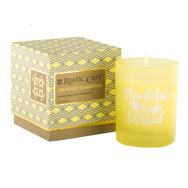 Engraved Candle Grapefruit Osmanthus - Thankful and Blessed