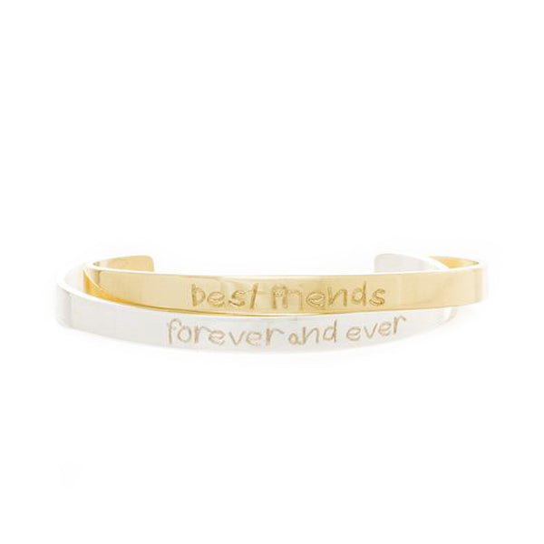 Engraved Quote .25 Best Friends Forever and Ever (First Grade Print)- Gold/Silver