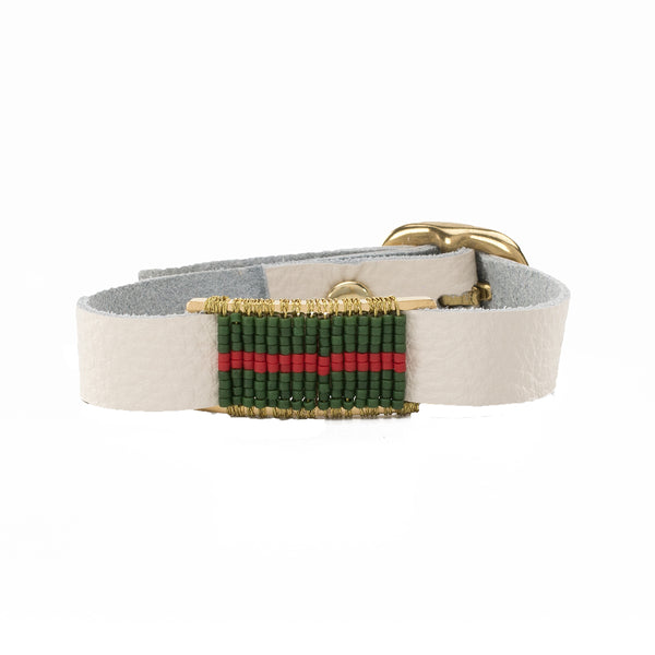 Marlow Single Wrap Forest Green and Red - White with Gold