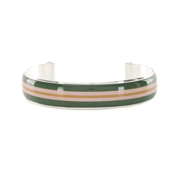 Art Deco .5 Stripe - Forest Green, Blush, and Camel