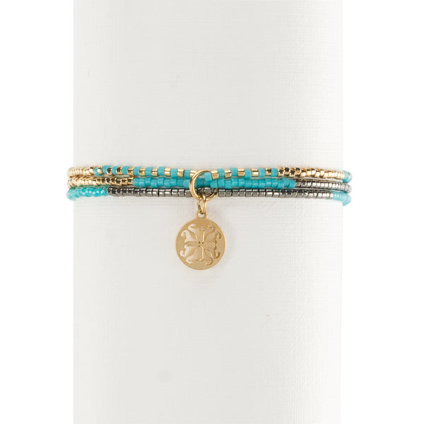 Fynlee Turquoise/Gray/Silver/Gold - Gold