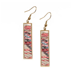 Vertical Rectangle Earrings Glazed Python - Glowing Ember on Gold