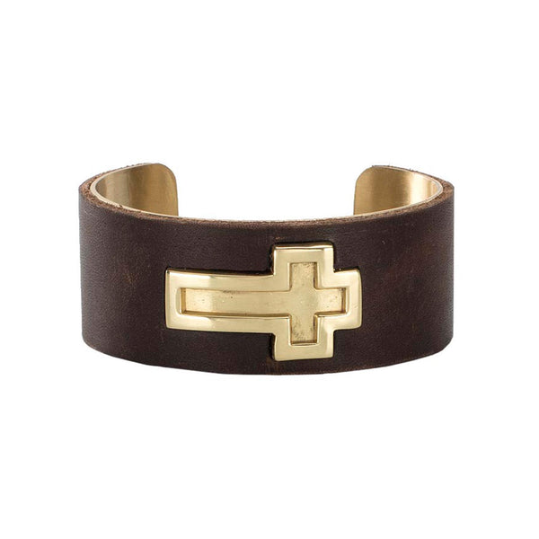 "1"" Ethos Cross with Leather Overlay - Gold with Brown"