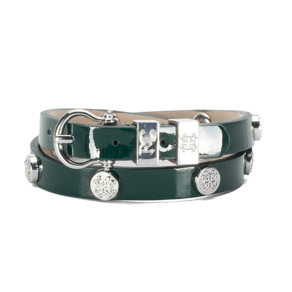 Macy Patent Double Wrap Emerald Green - Silver