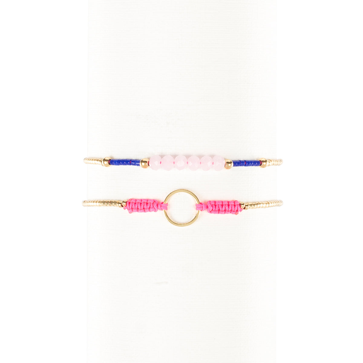 Mabel And Bea Duo Neon Pink Translucent Pink And Blue With Gold Rustic Cuff