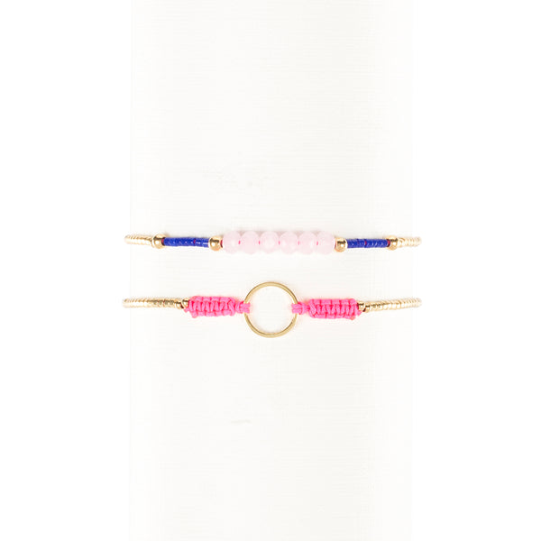 Mabel and Bea Duo - Neon Pink, Translucent Pink and Blue with Gold