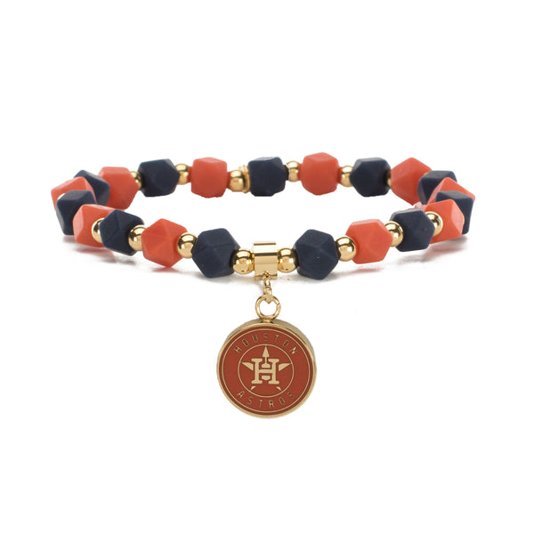 MLB Hexagon Beaded - Houston Astros on Gold