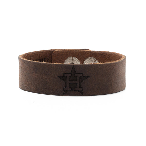 MLB Leather Snap Cuff .75 Engraved - Houston Astros