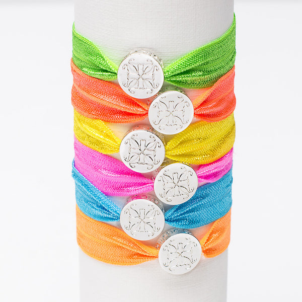 Mary Lou Hair Tie Neon Set - Silver