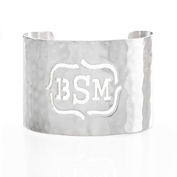 Cut Out 1.5 Monogram Bracket Silver (Serif Font)