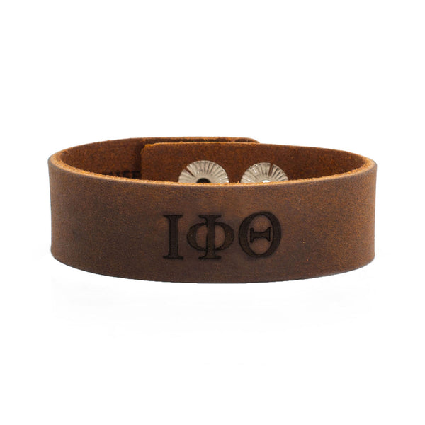 Leather Snap Cuff .75 - Iota Phi Theta Greek Letters