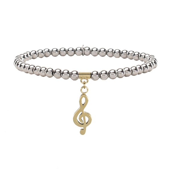 Ireland Mini Treble Clef - Silver with Gold Charm