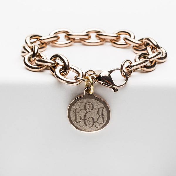 Jamie Reverse Engraved Script Vine Monogram Rose Gold Chain