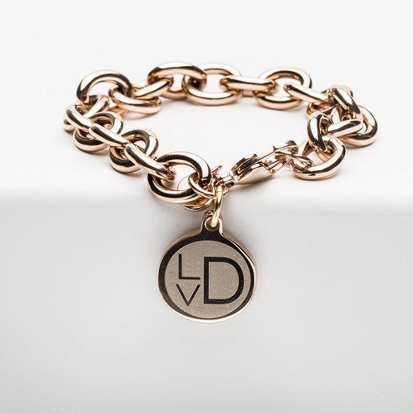 Jamie Reverse Engraved Contemporary Engravus Gothic Rose Gold Chain