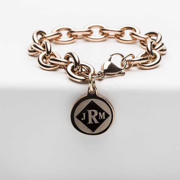 Jamie Reverse Engraved Diamond Kodchiary Rose Gold Chain