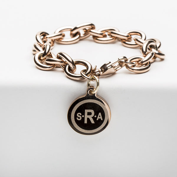 Jamie Reverse Engraved Double Circle Arial Bold Rose Gold Chain