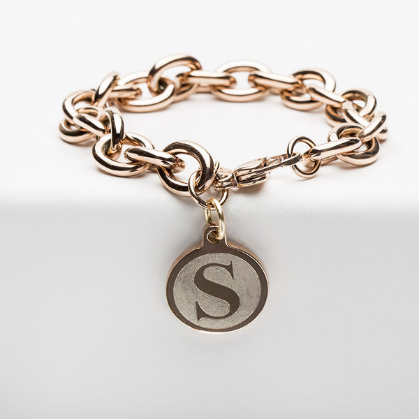 Jamie Reverse Engraved Single Initial Angsana Rose Gold Chain