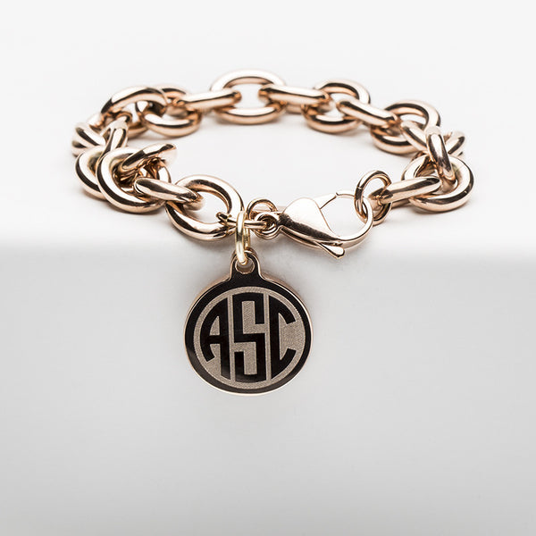 Jamie Reverse Engraved 3 Letter Circle Monogram Rose Gold Chain