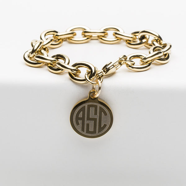Jamie Reverse Engraved 3 Letter Circle Monogram Gold Chain