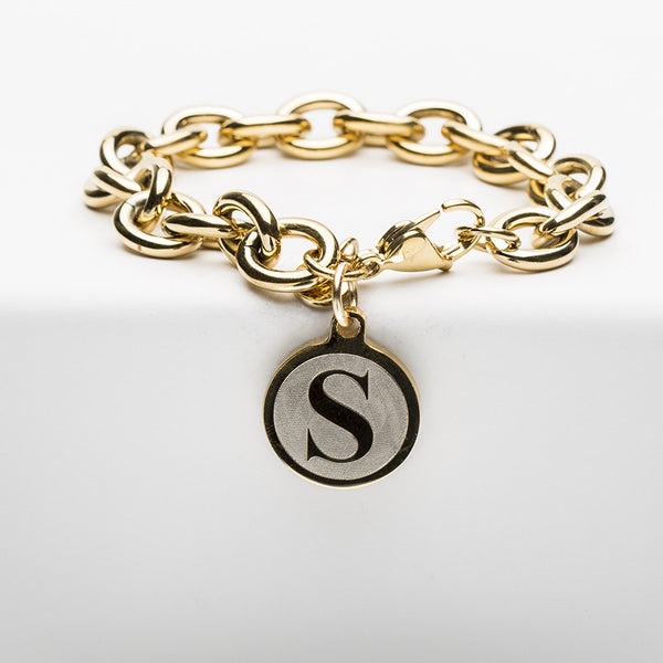 Jamie Reverse Engraved Single Initial Angsana Gold Chain