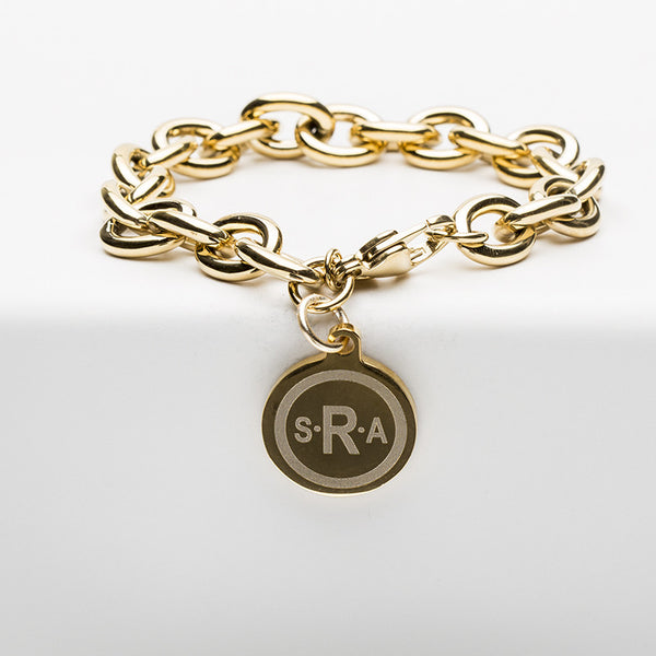 Jamie Reverse Engraved Double Circle Arial Bold Gold Chain
