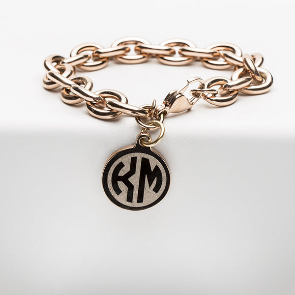 Jamie Reverse Engraved 2 Letter Monogram Rose Gold Chain