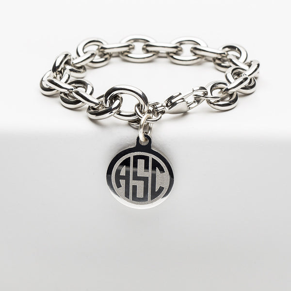 Jamie Reverse Engraved 3 Letter Circle Monogram Silver Chain