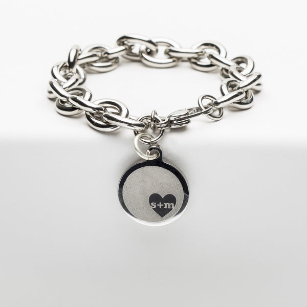 Jamie Reverse Engraved Heart in Circle Silver Chain