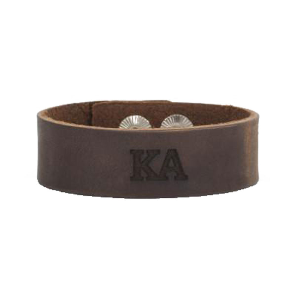 Leather Snap Cuff .75 - Kappa Alpha Order Greek Letters