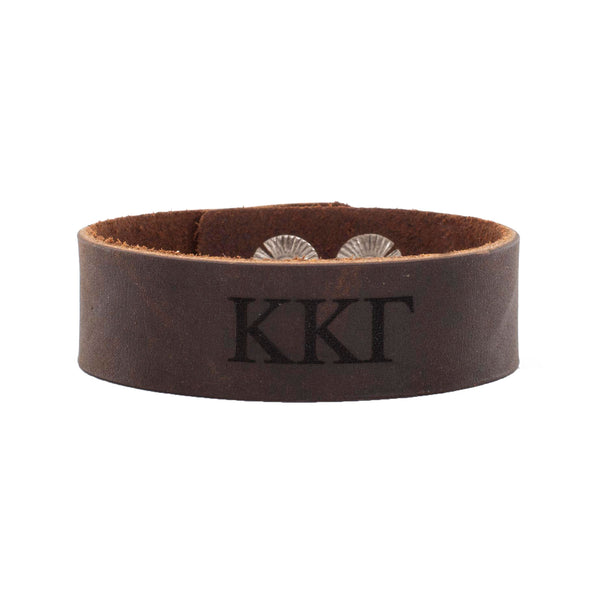 Leather Snap Cuff .75 - Kappa Kappa Gamma Greek Letters