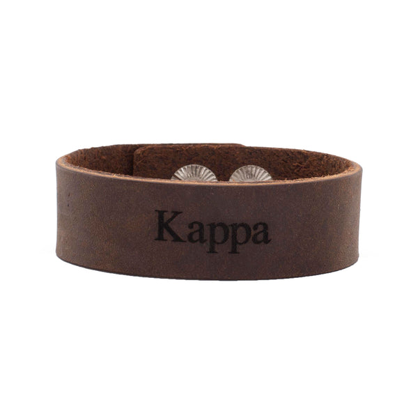 "Leather Snap Cuff .75 - Kappa Kappa Gamma ""Kappa"""
