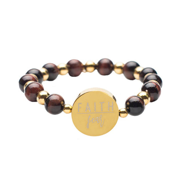 "Brandi Mahogany Tiger's Eye ""Faith Over Fear"" - Gold"