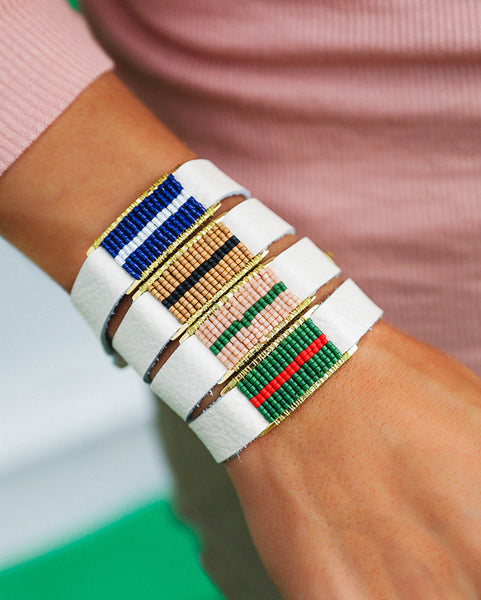 Marlow Single Wrap Blush and Forest Green - White with Gold
