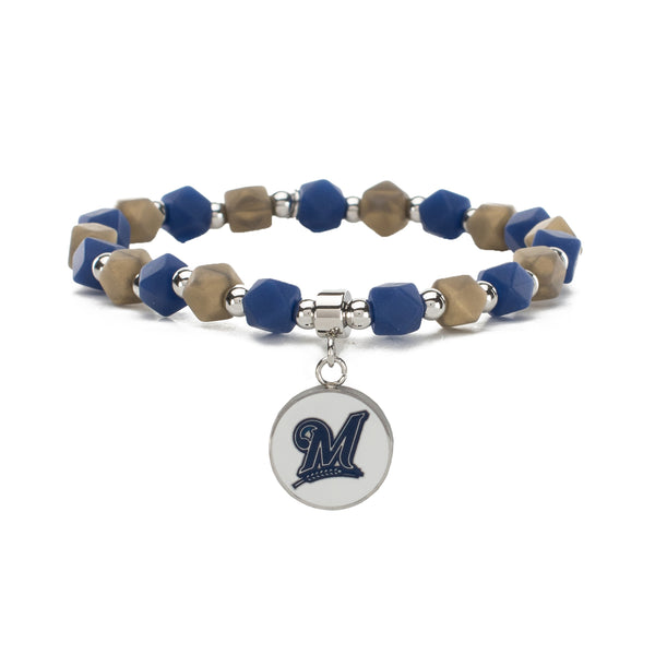 MLB Hexagon Beaded - Milwaukee Brewers on Silver