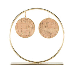 Natural Cork Round Earrings - Tan on Gold