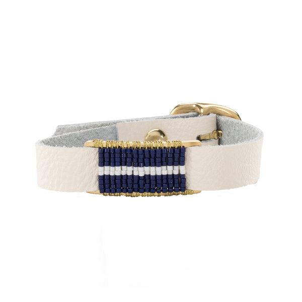 Marlow Single Wrap Navy and White - White with Gold